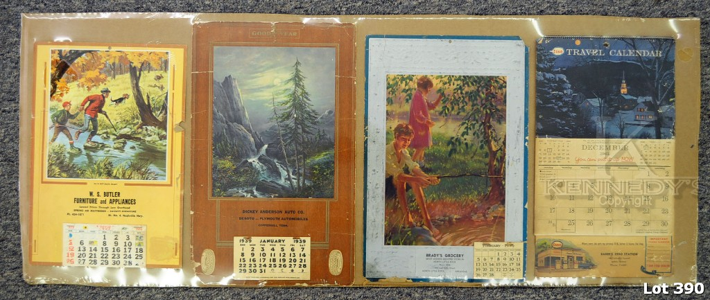 ... Jackson, Tn.; W.S. Butler And Brady`s Gro, North Little Rock Ark.  Condition   All Calendars Have Damage, See Photos For More Information.